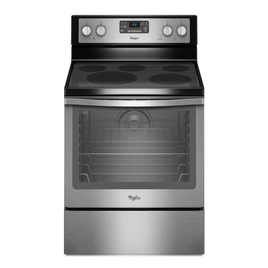 Whirlpool Smooth Surface Freestanding 5-Element 6.4-cu ft Self-Cleaning Convection Electric Range (Black-On-Stainless) (Common: 30-in; Actual: 29.875-in)