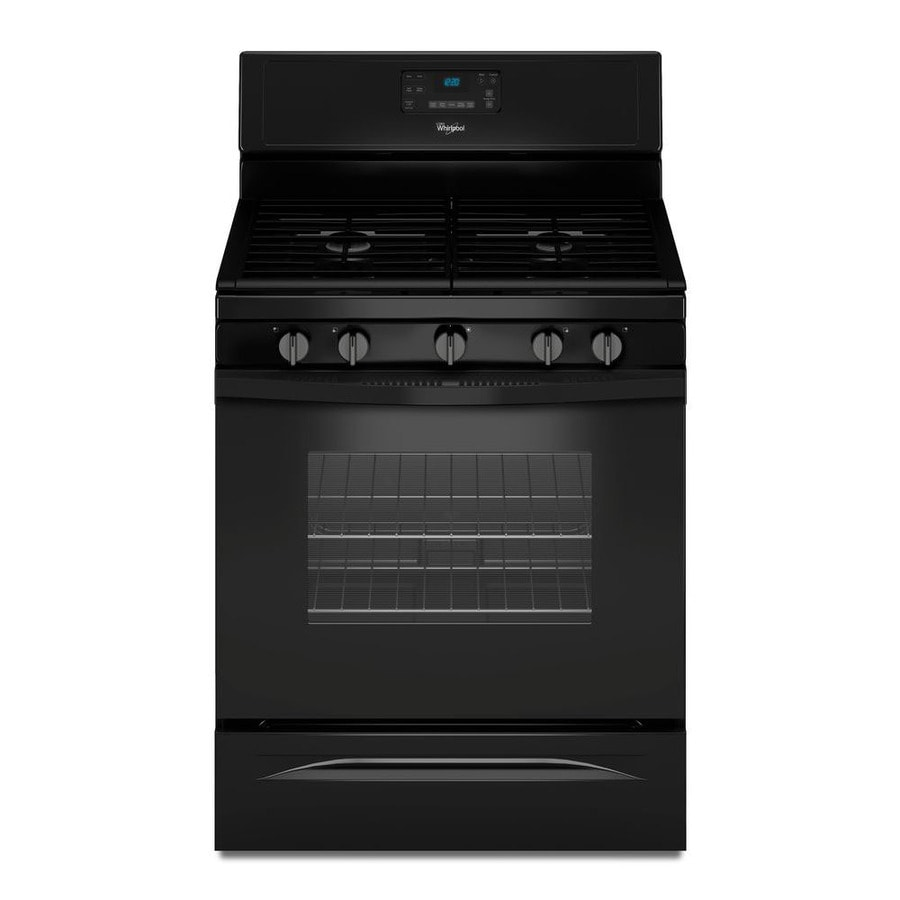 Whirlpool 5-Burner Freestanding 5-cu ft Self-cleaning Convection Gas Range (Black) (Common: 30-in; Actual: 29.875-in)