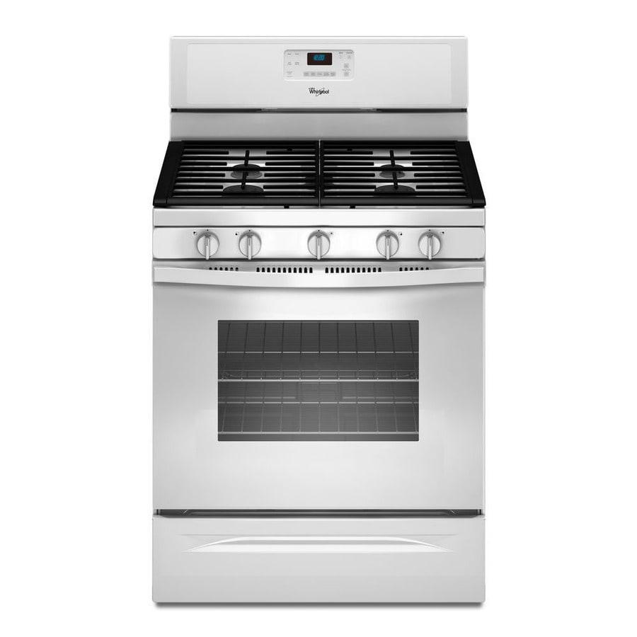 Whirlpool 5-Burner Freestanding 5-cu ft Self-cleaning Convection Gas Range (White) (Common: 30-in; Actual: 29.875-in)