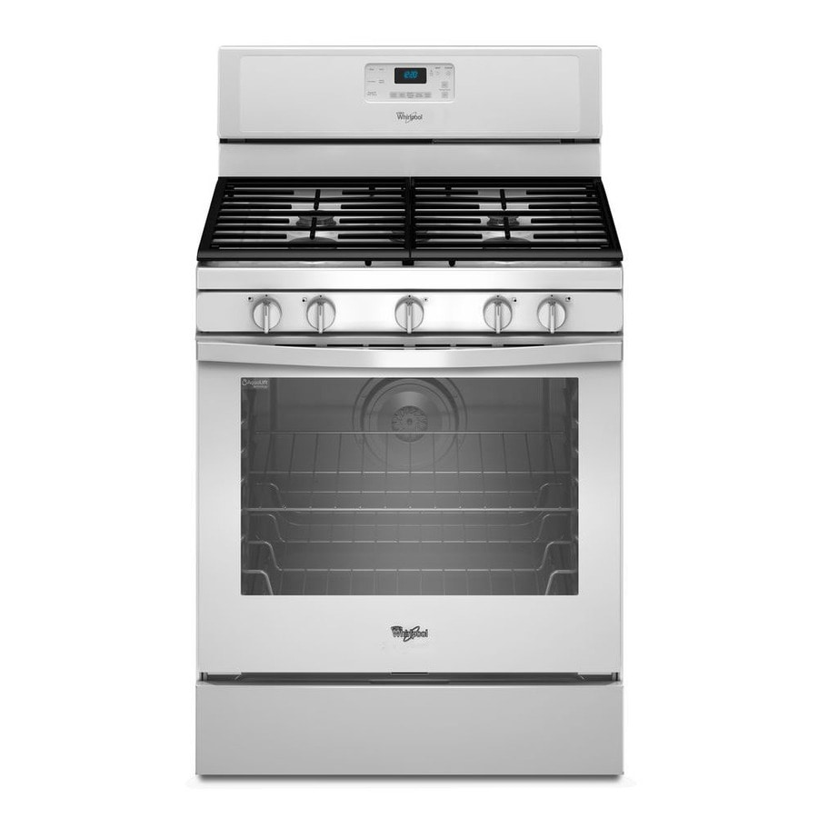 Whirlpool 5-Burner Freestanding 5.8-cu ft Self-cleaning Convection Gas Range (White) (Common: 30-in; Actual: 29.875-in)