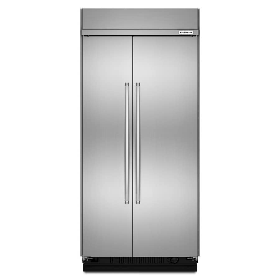 KitchenAid 25.5-cu ft Counter-Depth Built-in Side-by-Side Refrigerator with Single Ice Maker (Stainless Steel)