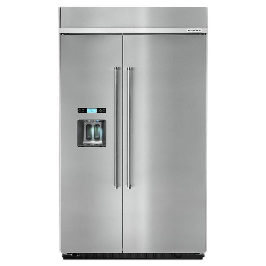 kitchenaid 29 5 cu ft built in side by side refrigerator with ice rh lowes com