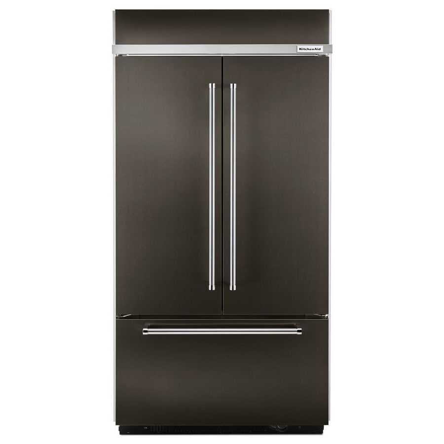 KitchenAid 24.2 Cu Ft Built In French Door Refrigerator With Ice Maker  (Black