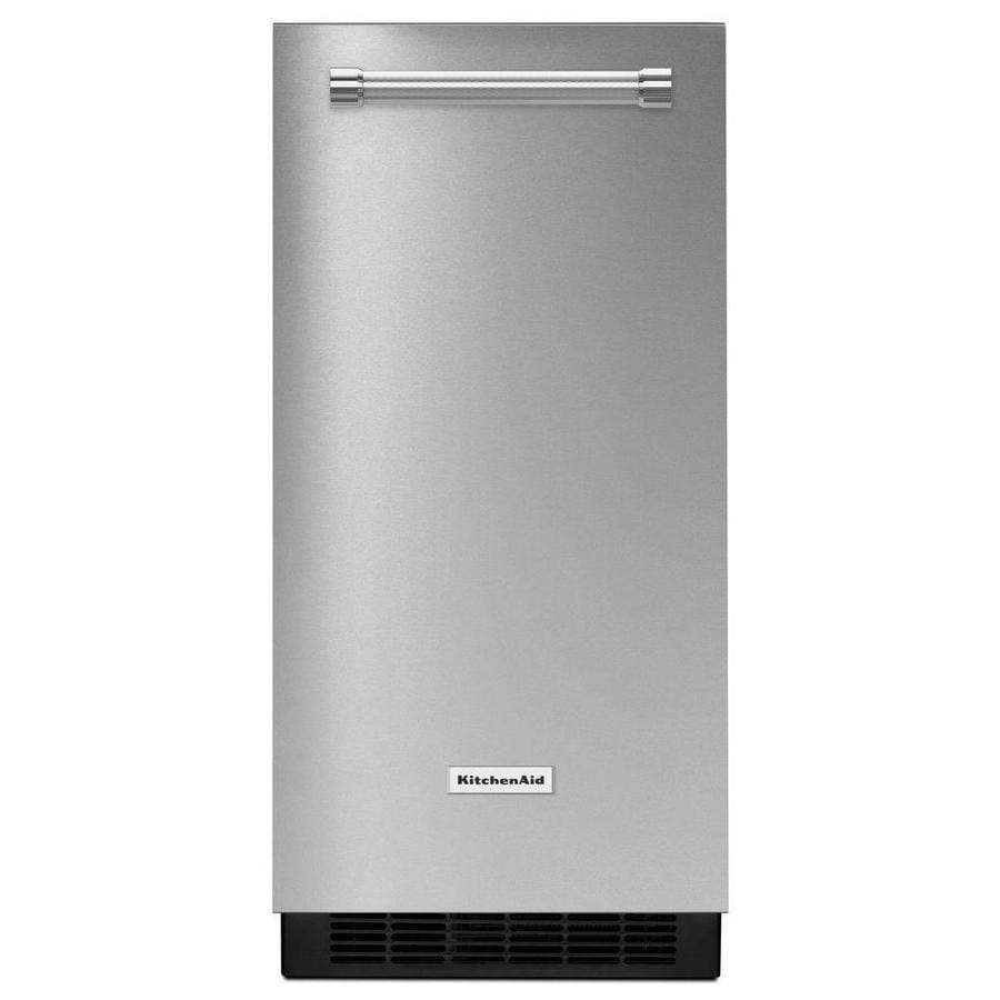 KitchenAid 50-lb Reversible Door Freestanding/Built-In Ice Maker (Stainless steel  sc 1 st  Loweu0027s & Shop KitchenAid 50-lb Reversible Door Freestanding/Built-In Ice ... pezcame.com