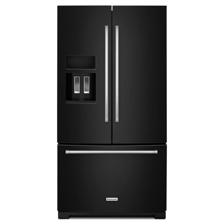 KitchenAid 26.8-cu ft 3-Door French Door Refrigerator Single Ice Maker (Black)