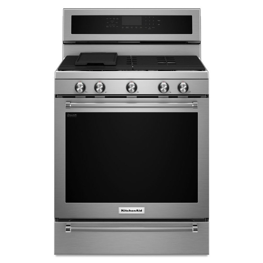 KitchenAid 5-Burner Freestanding 5.8-cu ft Self-Cleaning Convection Gas Range (Stainless Steel) (Common: 30-in; Actual: 29.875-in)