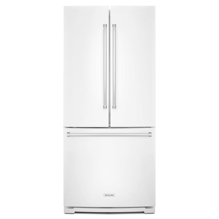 Kitchenaid 30 19 7 Cu Ft French Door Refrigerator With: Shop KitchenAid 19.7-cu Ft French Door Refrigerator With Ice Maker (White) At Lowes.com