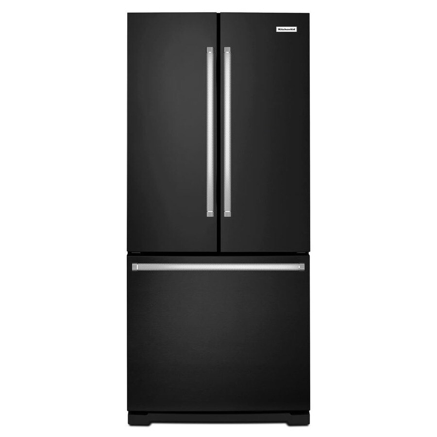 KitchenAid 19.7-cu ft French Door Refrigerator with Single Ice Maker (Black)