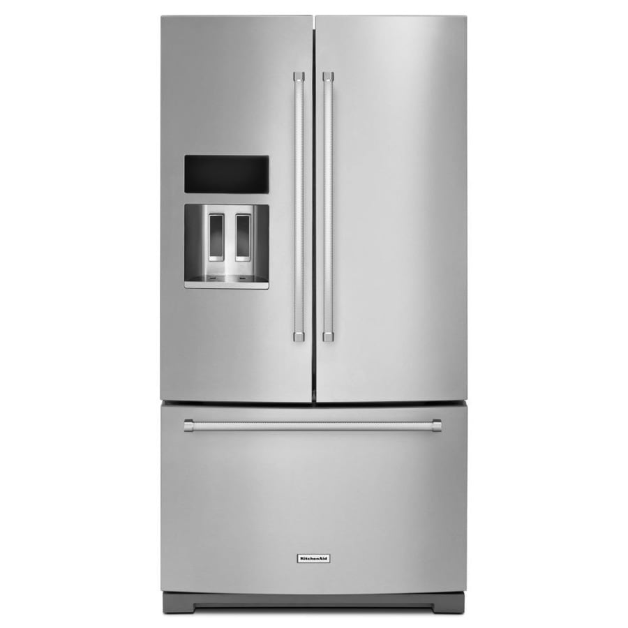Shop Kitchenaid 26 8 Cu Ft 3 Door French Door Refrigerator