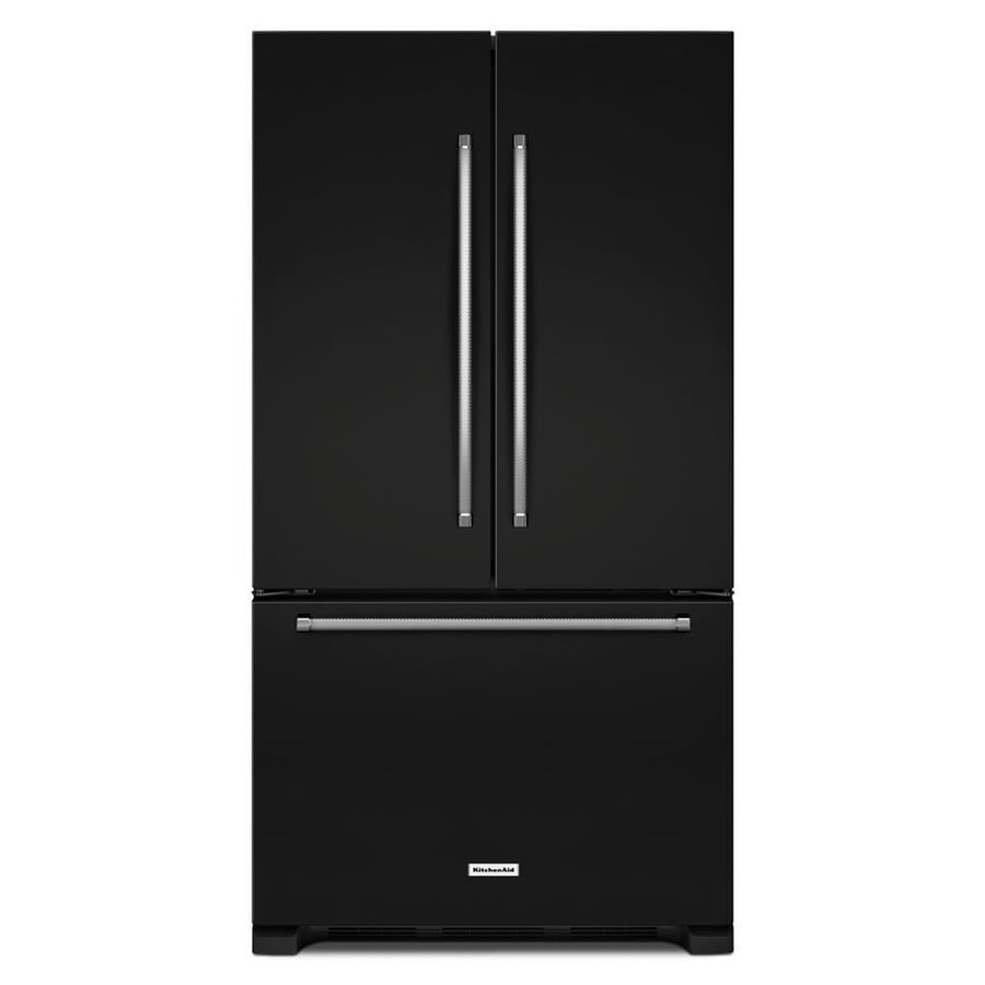 KitchenAid 20-cu ft 3-Door Counter-Depth French Door Refrigerator with Single Ice Maker (Black) ENERGY STAR