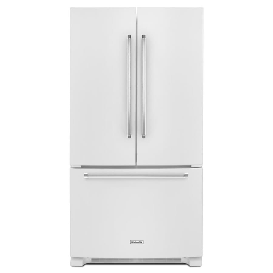 with lowes maker kitchenaid aid french shop white cu door kitchen pd ice refrigerator ft