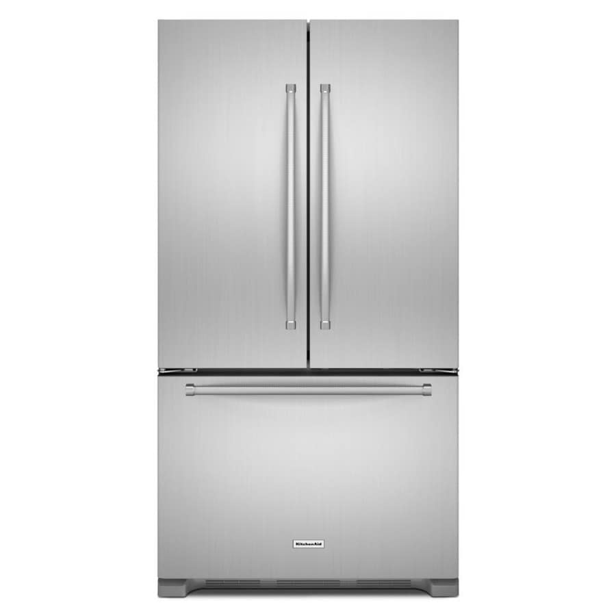 shop kitchenaid 20-cu ft counter-depth french door refrigerator