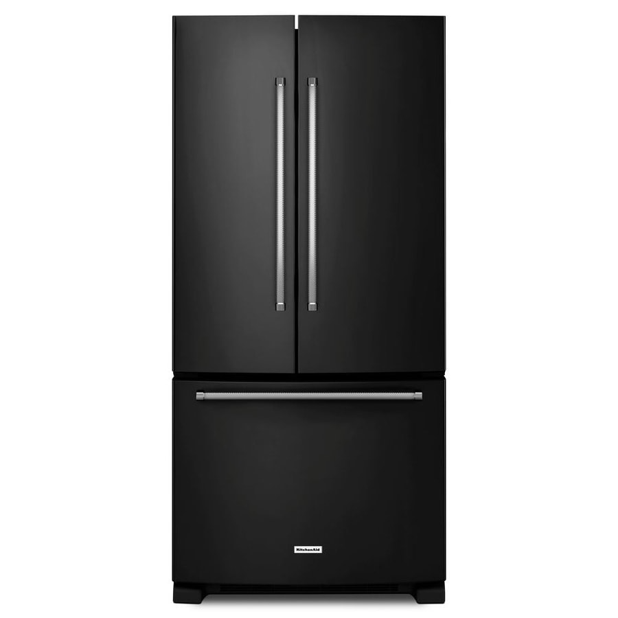 KitchenAid 22.1-cu ft French Door Refrigerator with with Single Ice Maker (Black) ENERGY STAR