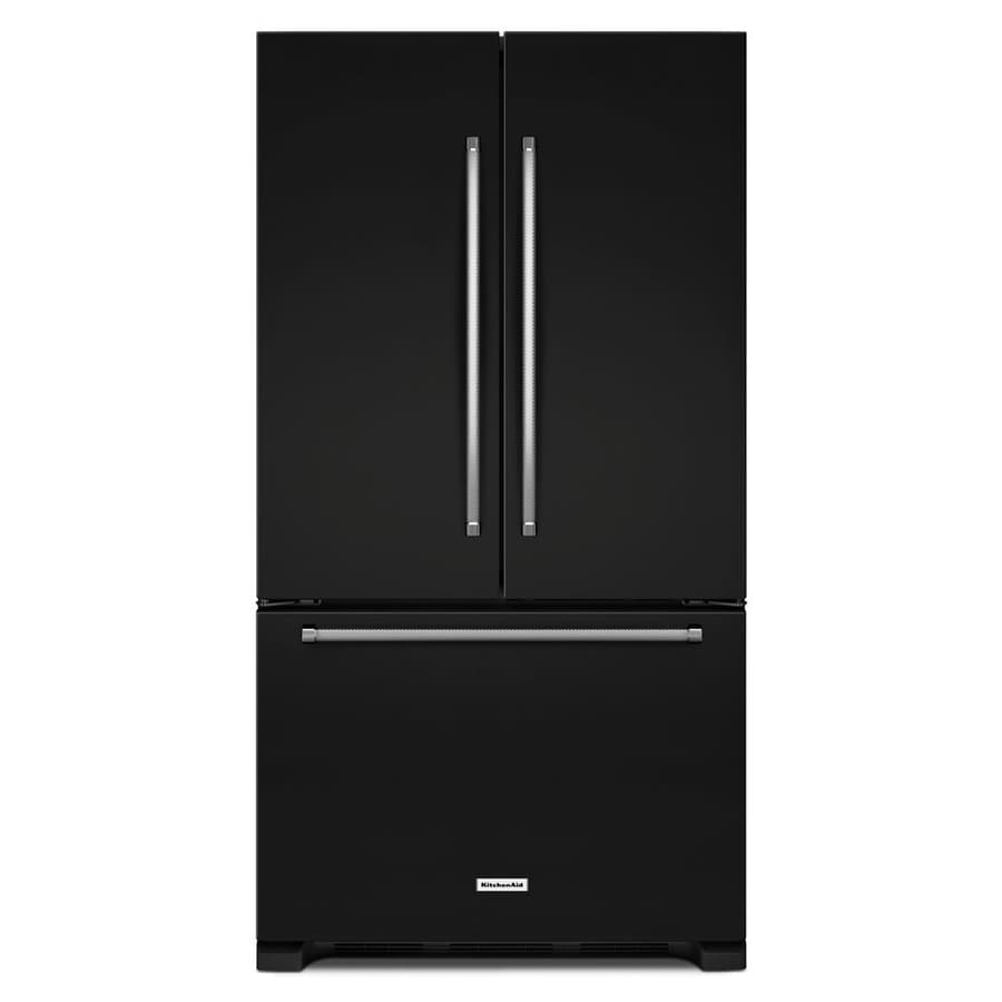 KitchenAid 25.2-cu ft 3-Door French Door Refrigerator Single Ice Maker (Black) ENERGY STAR