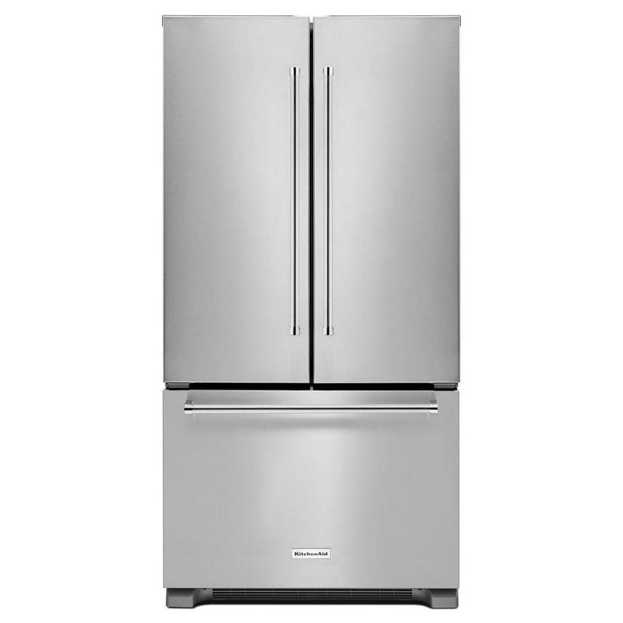 KitchenAid 21.9-cu ft 3-Door Counter-Depth French Door Refrigerator Single Ice Maker (Stainless Steel)