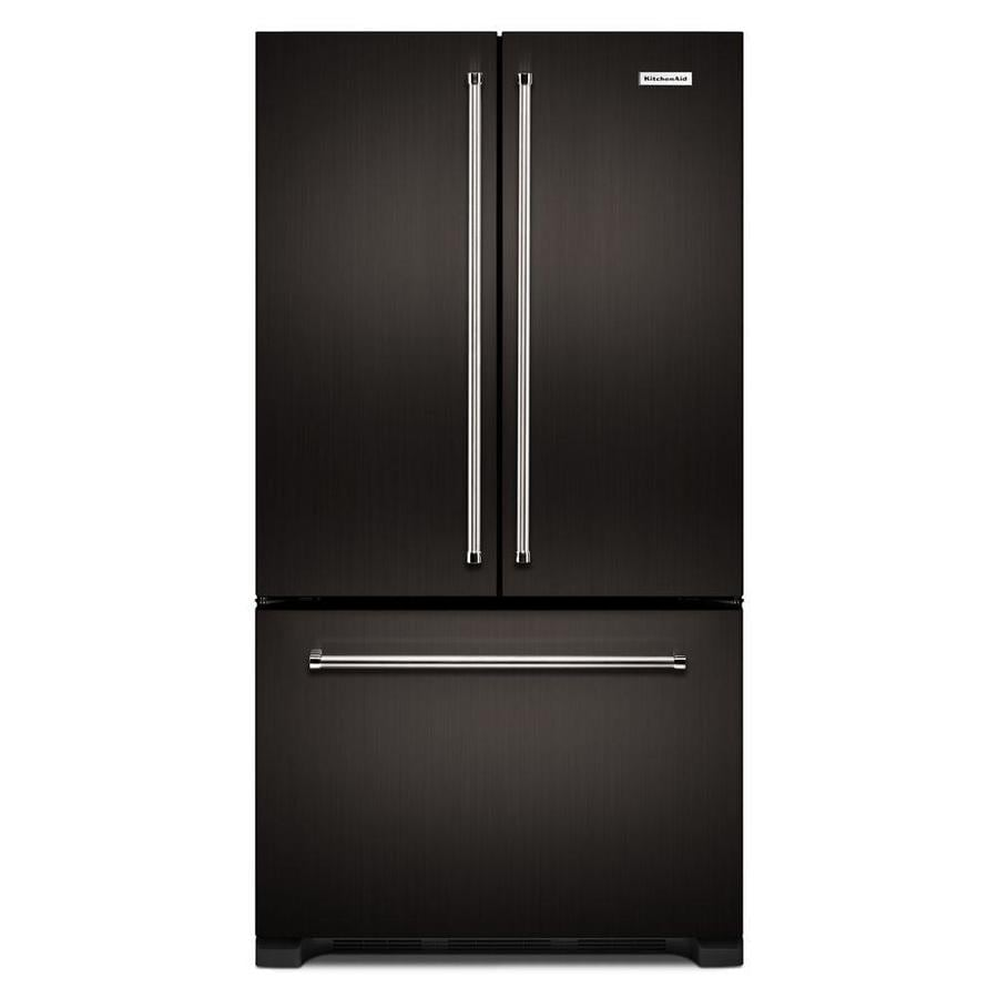 KitchenAid 21.9-cu ft Counter-Depth French Door Refrigerator with Single Ice Maker (Black Stainless Steel)