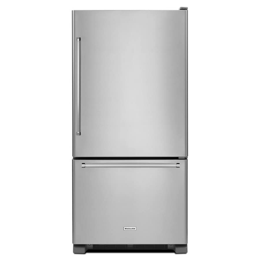 Shop Kitchenaid 18 67 Cu Ft Bottom Freezer Refrigerator