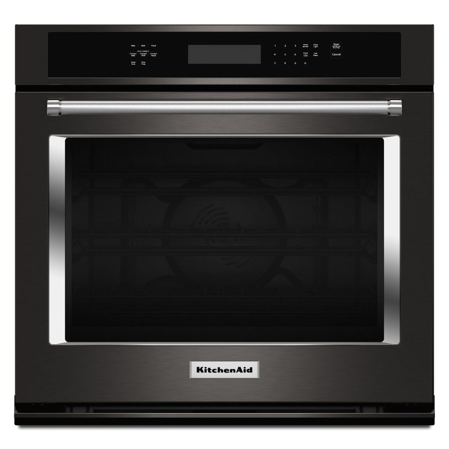 KitchenAid Convection Single Electric Wall Oven (Black Stainless Steel) (Common: 30-in; Actual 30-in)