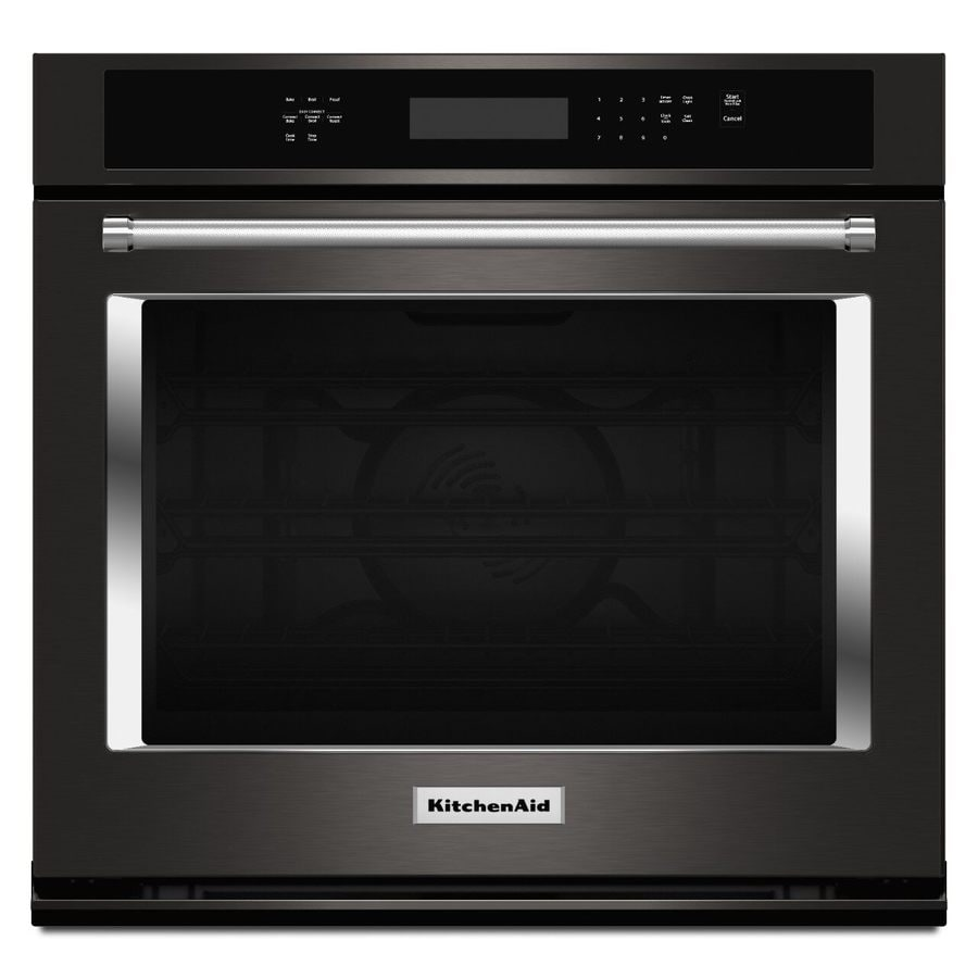 KitchenAid Self-cleaning Convection Single Electric Wall Oven (Black Stainless Steel) (Common: 30-in; Actual 30-in)