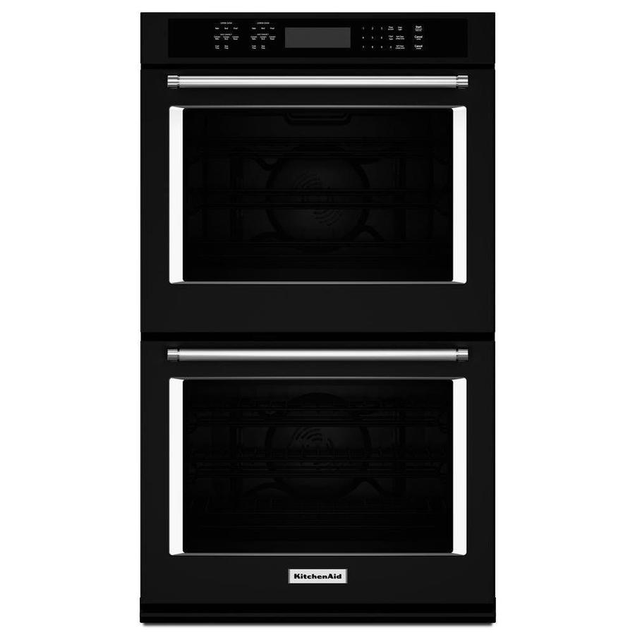 KitchenAid Self-Cleaning Convection Double Electric Wall Oven Single-Fan (Black) (Common: 30-in; Actual: 30-in)