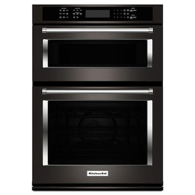 Self Cleaning Convection Microwave Wall Oven Combo Black Stainless Steel 30 Inch Actual In
