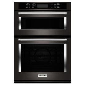 Kitchenaid Self Cleaning Convection Microwave Wall Oven Combo Black Stainless Steel Common