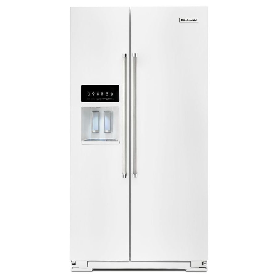 KitchenAid 24.8-cu ft Side-by-Side Refrigerator with Single Ice Maker (White) ENERGY STAR
