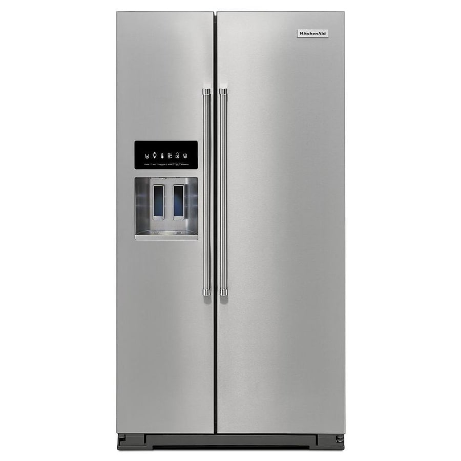 kitchenaid 24 8 cu ft side by side refrigerator with ice maker rh lowes com