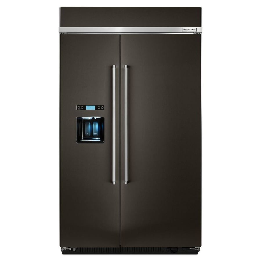 KitchenAid 29.5-cu ft Counter-Depth Built-in Side-by-Side Refrigerator with Single Ice Maker (Black Stainless Steel) ENERGY STAR