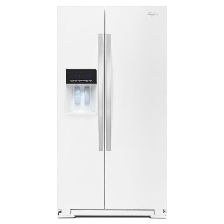 Whirlpool white ice appliances lowes - Whirlpool 25 6 Cu Ft Side By Side Refrigerator Single White Ice