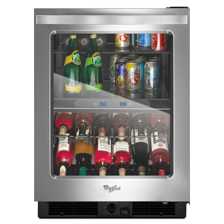 Shop Whirlpool 5.8-cu ft Monochromatic Stainless Steel Built-In/Freestanding Beverage Center at ...