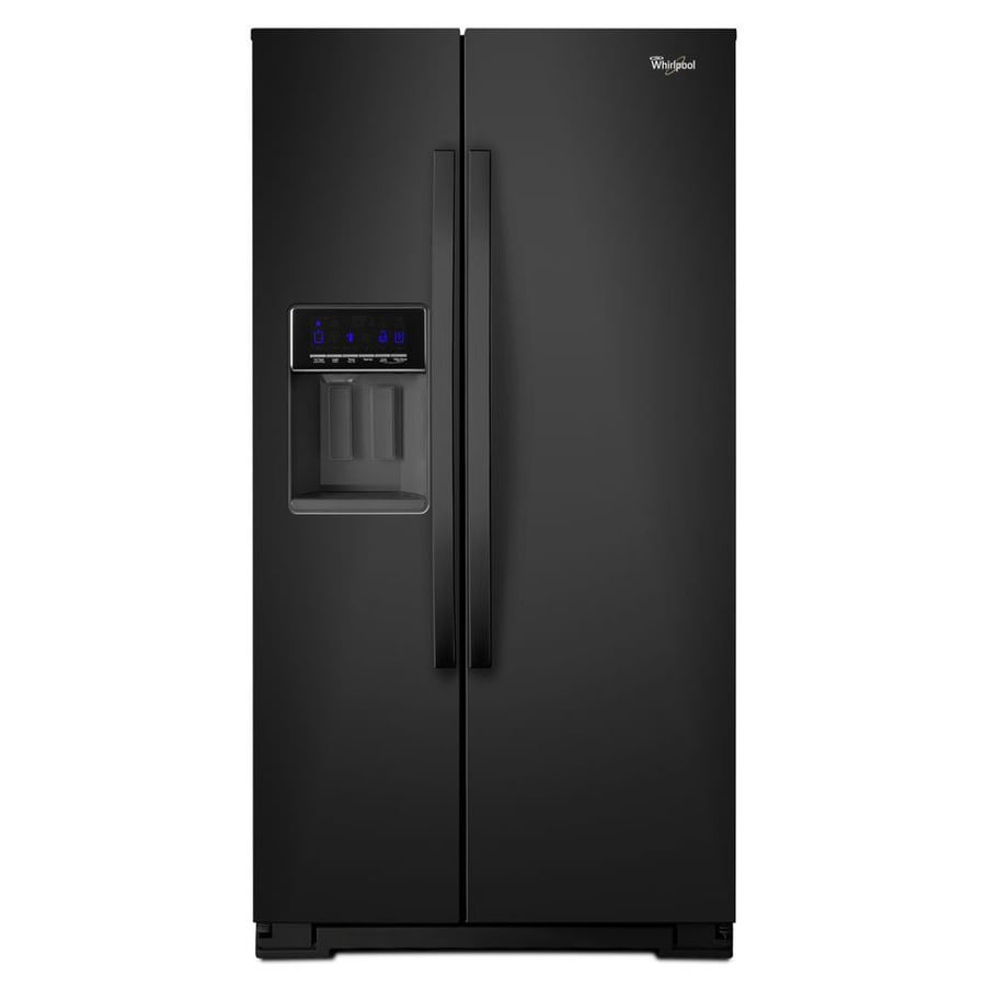 Whirlpool 20.6-cu ft Counter-Depth Side-by-Side Refrigerator with Single Ice Maker (Black)