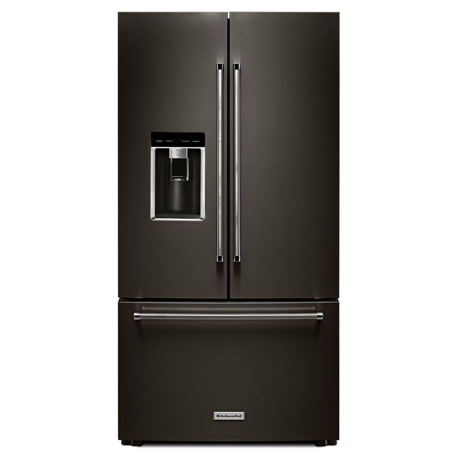 KitchenAid 23.8-cu ft 3-Door Counter-Depth French Door Refrigerator with Single Ice Maker (Black Stainless Steel)