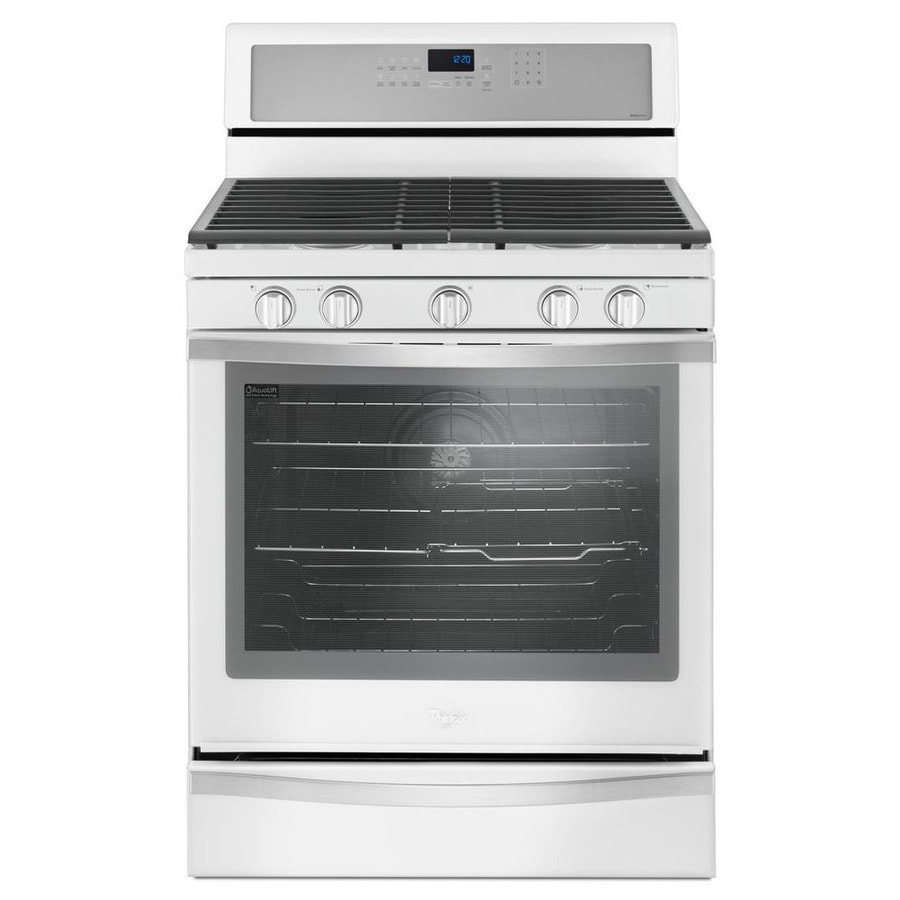 Whirlpool 5-Burner Freestanding 5.8-cu ft Self-Cleaning Convection Gas Range (White Ice) (Common: 30-in; Actual: 29.875-in)