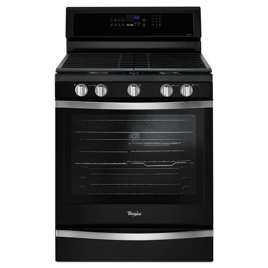 Whirlpool 5-Burner Freestanding 5.8-cu ft Self-Cleaning Convection Gas Range (Black Ice) (Common: 30-in; Actual: 29.875-in)