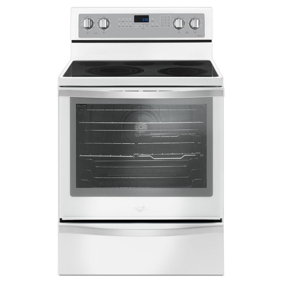 Whirlpool Smooth Surface Freestanding 5-Element 6.4-cu ft Self-Cleaning Convection Electric Range (White Ice) (Common: 30-in; Actual: 29.875-in)