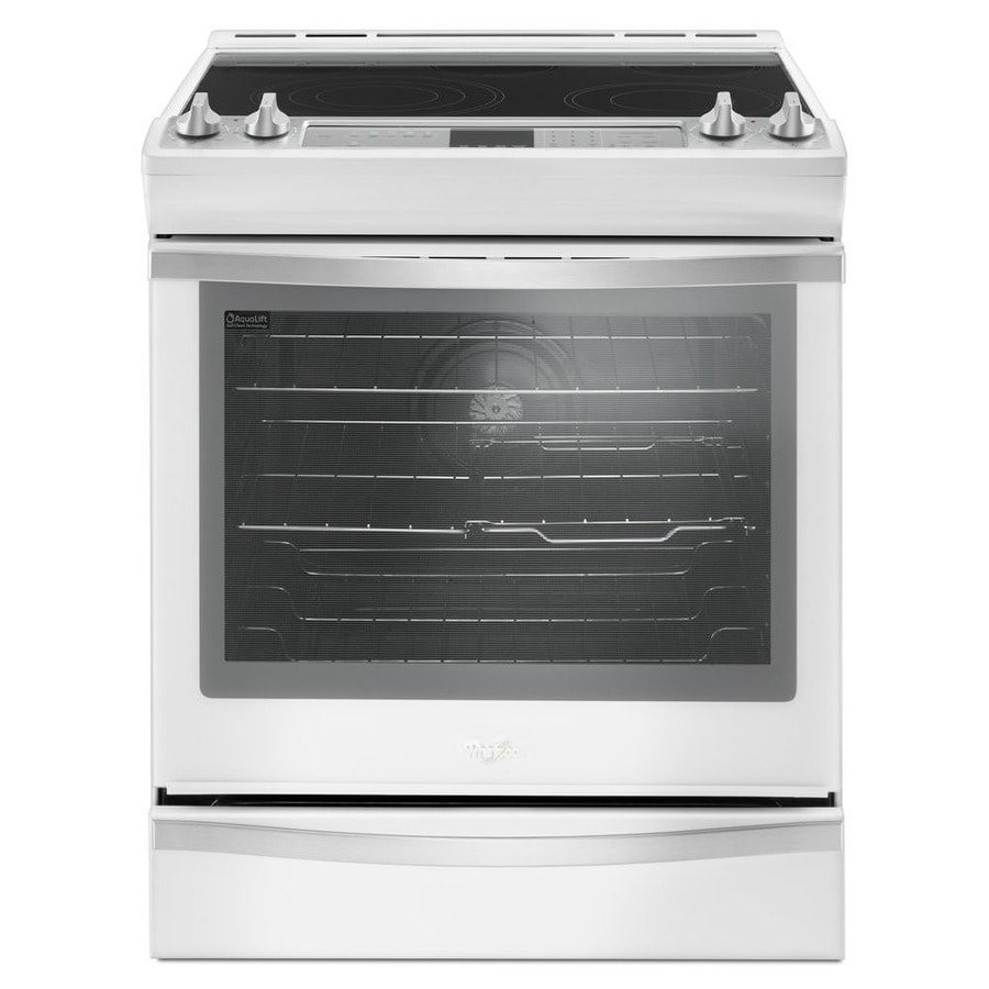 Whirlpool white ice single wall oven - Whirlpool Smooth Surface 5 Element Self Cleaning Slide In Convection Electric Range