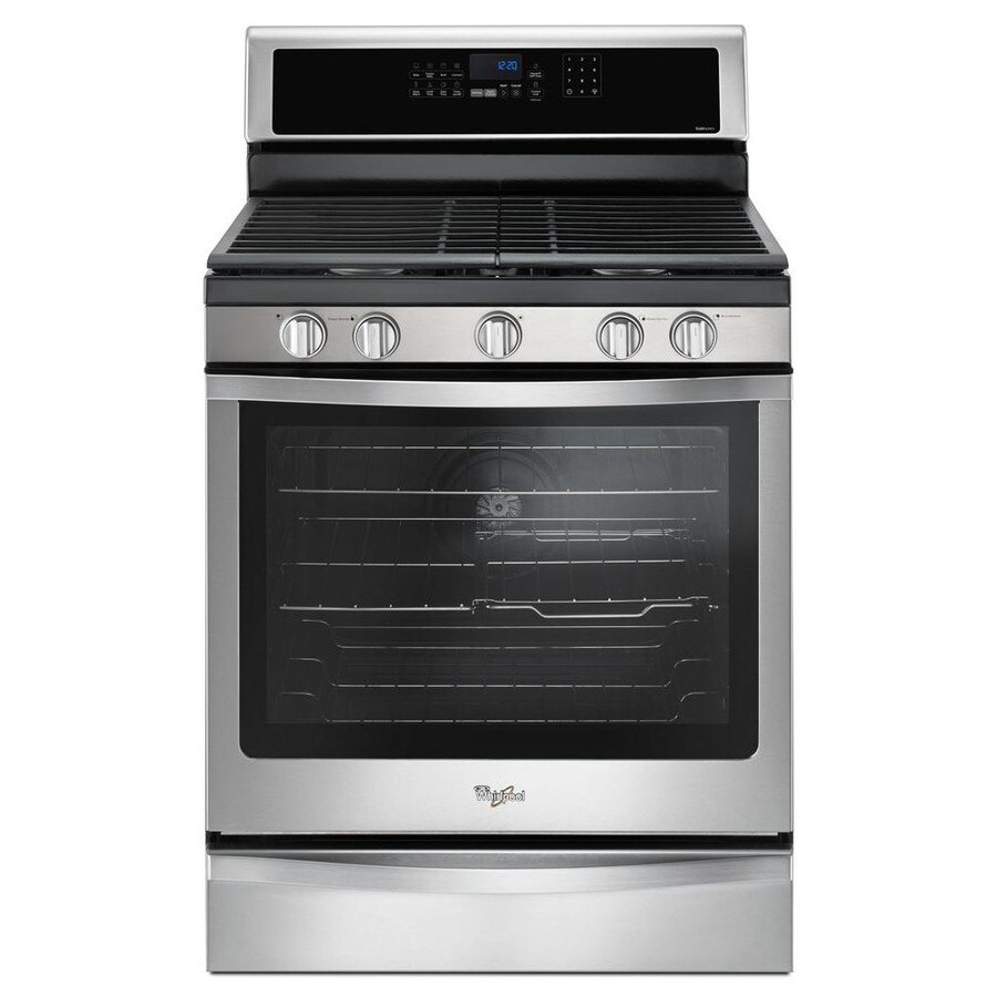 Whirlpool 5-Burner Freestanding 5.8-cu ft Self-Cleaning Convection Gas Range (Stainless Steel) (Common: 30-in; Actual: 29.875-in)