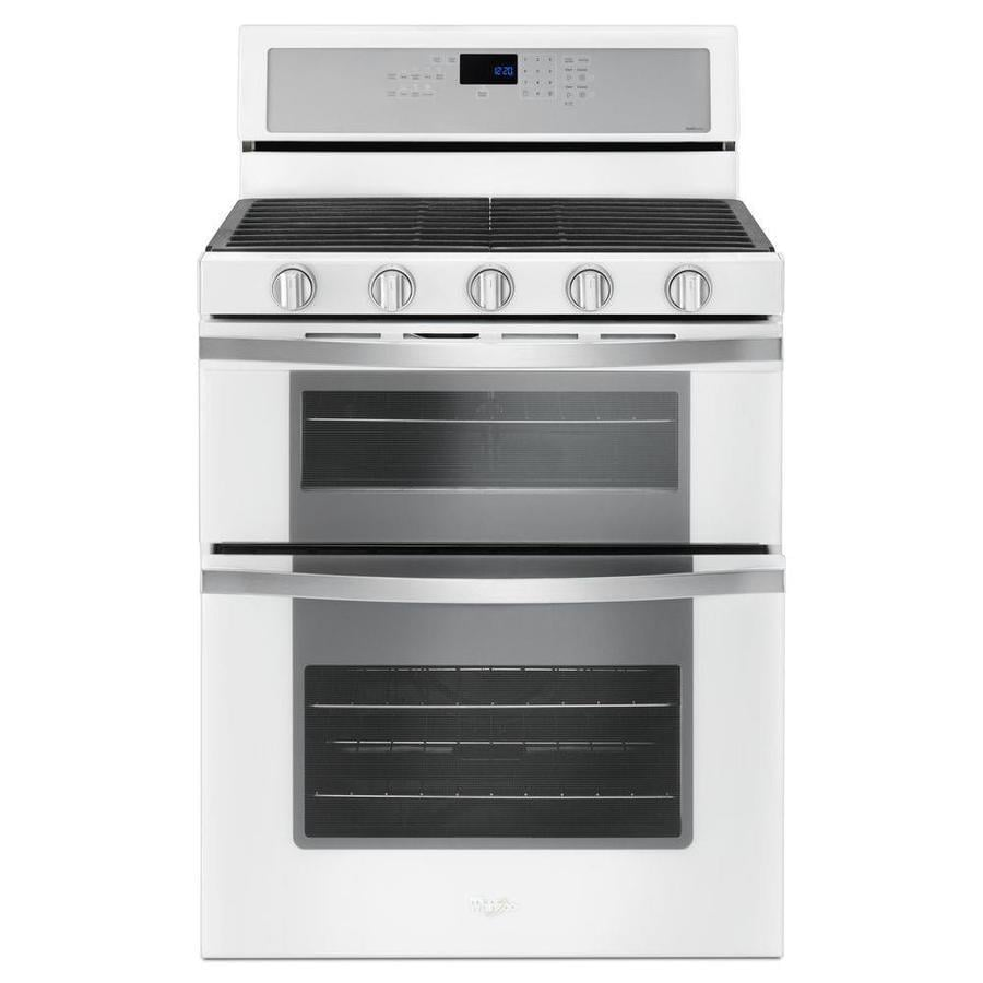 Whirlpool 30-in 5-Burner 3.9-cu ft/2.1-cu ft Double Oven Convection Gas Range (White Ice)