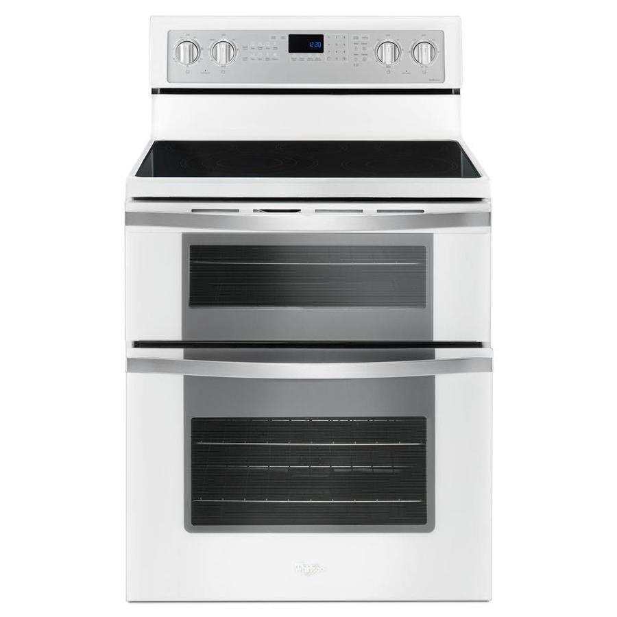 Whirlpool 30-in Smooth Surface 5-Element 4.2-cu ft / 2.5-cu ft Double Oven Single-Fan Electric Range (White Ice)