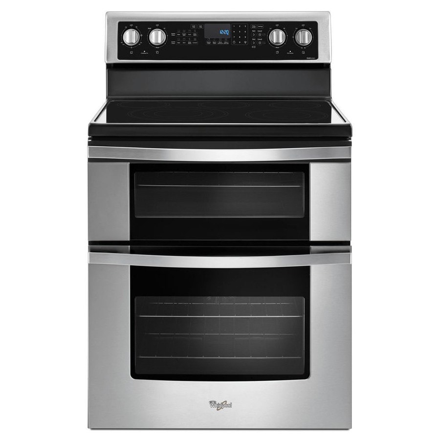 Whirlpool 30-in Smooth Surface 5 4.2-cu ft/2.5-cu ft Double Oven Convection Electric Range (Stainless Steel)