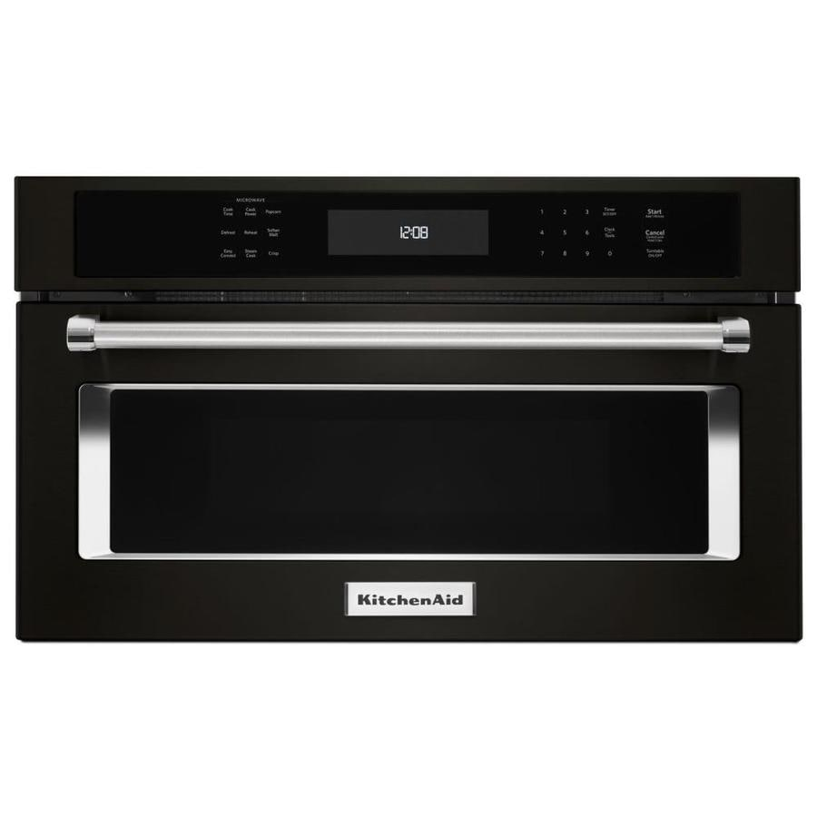 Kitchenaid 1 4 Cu Ft Built In Convection Microwave With Sensor Cooking Controls Black