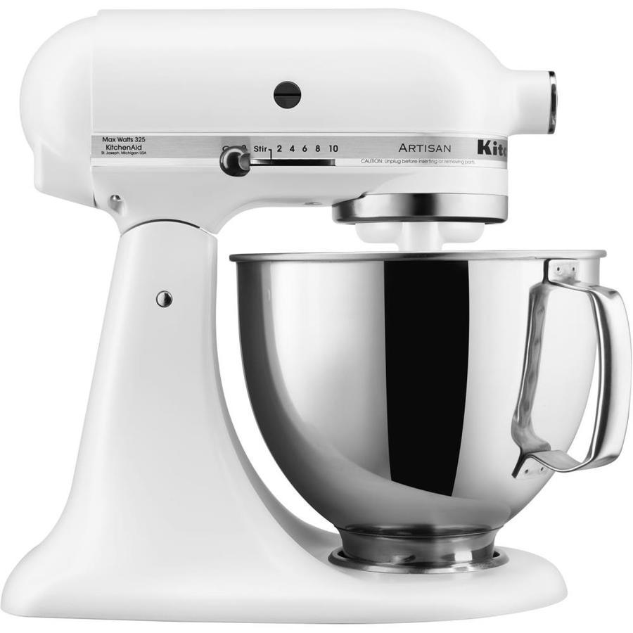 Shop KitchenAid Artisan 5-Quart 10-Sd Matte White Countertop ... on kitchenette mixer, black mixer, delonghi mixer, tea mixer, banbury mixer, breville mixer, 4hp kemper mixer, wooden mixer, keurig mixer, wonder woman mixer, wolfgang puck mixer, magic chef mixer, moulinex masterchef mixer, berkel mixer, ge mixer, maytag mixer, krups mixer, logitech mixer, koflo mixer, hamilton beach mixer,