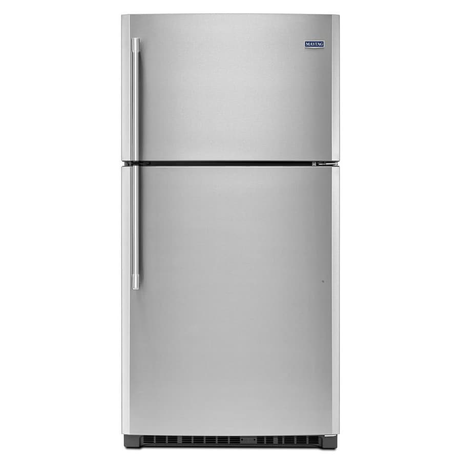 Maytag 21.2-cu ft Top-Freezer Refrigerator with Single Ice Maker (Fingerprint Resistant Stainless Steel)