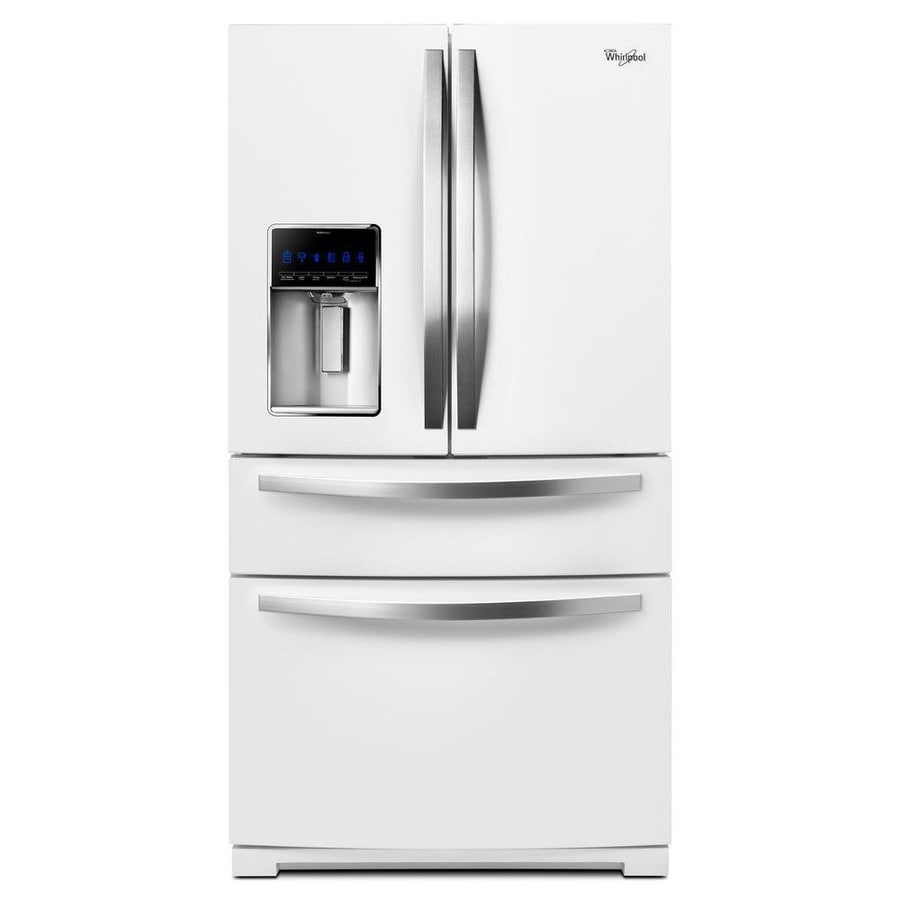 Whirlpool white ice appliances lowes - Whirlpool 24 5 Cu Ft 4 Door French Door Refrigerator With Ice Maker White