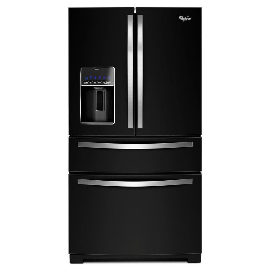 Whirlpool 24.5-cu ft 4-Door French Door Refrigerator with Single Ice Maker (Black Ice)