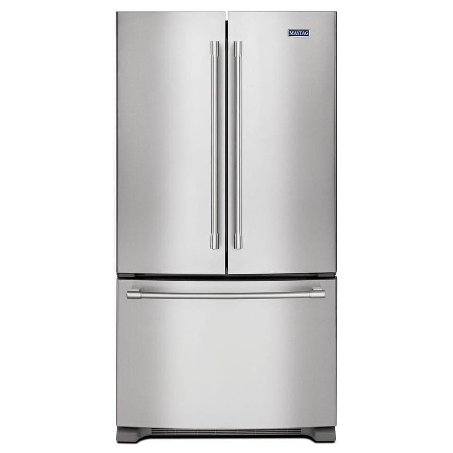 Maytag 25.2-cu ft French Door Refrigerator with with Single Ice Maker (Fingerprint Resistant Stainless Steel) ENERGY STAR