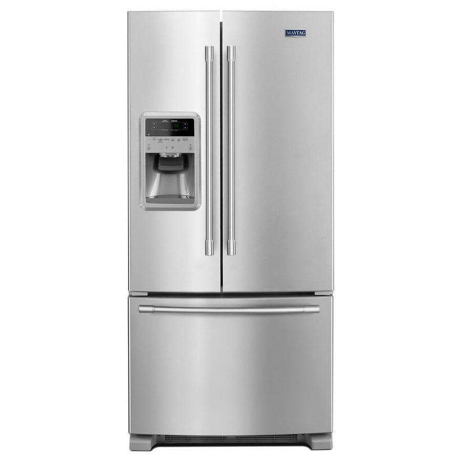 Maytag 21.7-cu ft French Door Refrigerator with Ice Maker (Fingerprint-Resistant Stainless Steel)