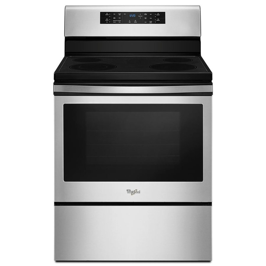 Whirlpool Smooth Surface Freestanding 5.3-cu ft Self-Cleaning Convection Electric Range (Stainless Steel) (Common: 30-in; Actual: 29.875-in)