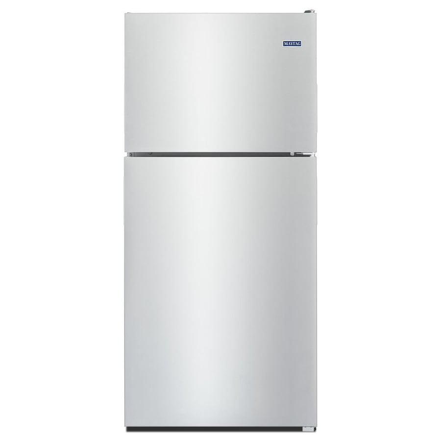 Maytag 20.5-cu ft Top-Freezer Refrigerator (Fingerprint Resistant Stainless Steel)